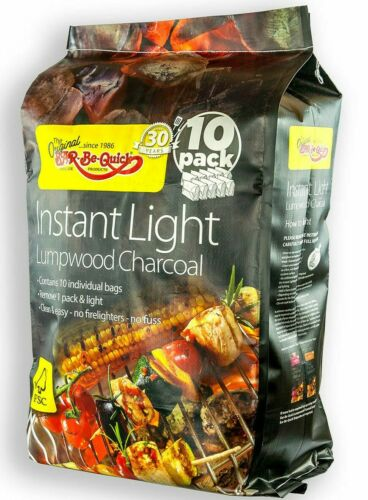 Instant BBQ Charcoal Bar-Be-Quick Light Lumpwood Charcoal 13.5kg 10 Pack