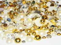 2000 Mixed Colors Sizes Flatback Resin Rhinestones Faux Pearls Ivory Gold Clear