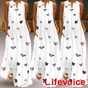 Women-Butterfly-Print-V-Neck-Vest-Sundress-Party-Evening-Long-Maxi-Dress-10-16