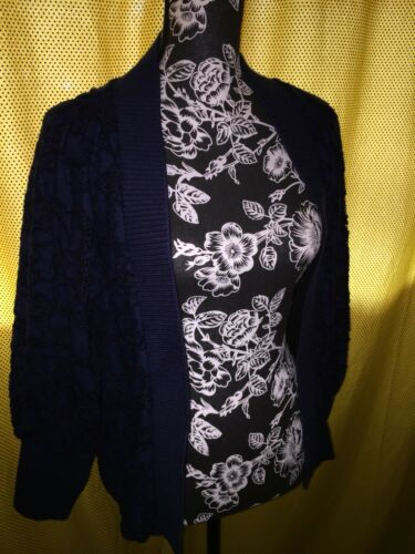 Blur Size Anthropologie longues Nwt manches en blush à Cardigan dentelle Navy 7FEwEtqRg