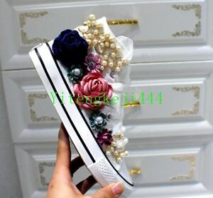 Handmade-flowers-Womens-canvas-shoes-colorful-pearl-Rhinestone-Espadrille-New-SZ