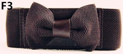 Fashion Women Elastic Wide Stretch Buckle Bowknot Bow Waistband Waist Belt