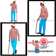 Where's Wally Waldo Adult Costume Men's Book Week Hat, Top, Bottom, Glasses S:M