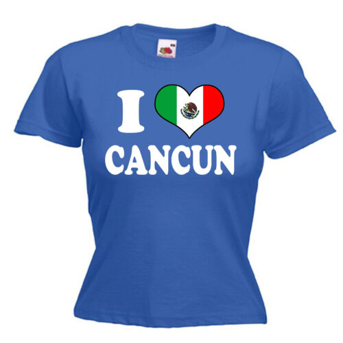 I Love Heart Cancun Mexico Ladies Womens Lady Fit T Shirt