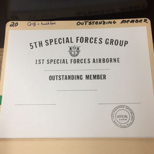 MEMBER CERTIFICATE 5TH SPECIAL FORCES GROUP 1ST SPECIAL FORCES AIRBORNE NOS