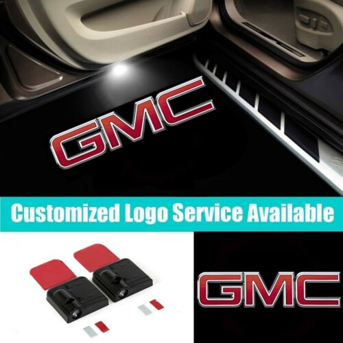 2Pcs Wireless Car Door LED GMC Letters Welcome Laser Projector Shadow Lights
