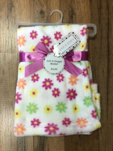 """Zak and Zoey Soft /& Snuggly Baby Blanket Pink Flowers 30/"""" x 30/"""" NEW!"""