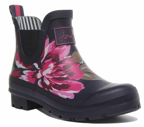 Joules Wellibob Floral Estampado Rainboot en Azul Marino Floral Size Uk 3 - 8