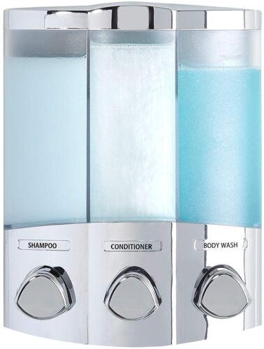 Shower Soap Dispenser 3-Chamber Chrome For Shampoo Conditioner Body Wash
