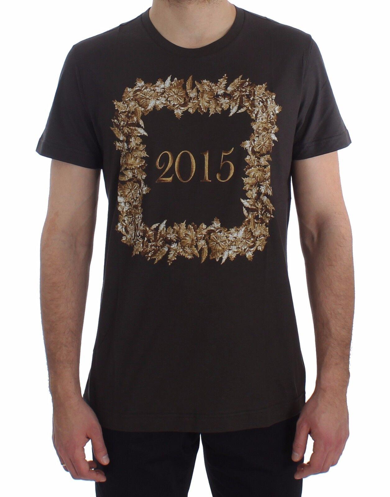 Nuovo Dolce & Gabbana T-Shirt Girocollo 2015 Motive Stampa Scuro Grigio Cotone