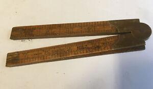 "Vintage Rabone Narrow 24"" No.1377 Boxwood & Brass Bi-Folding Pin & Hinge Rule"