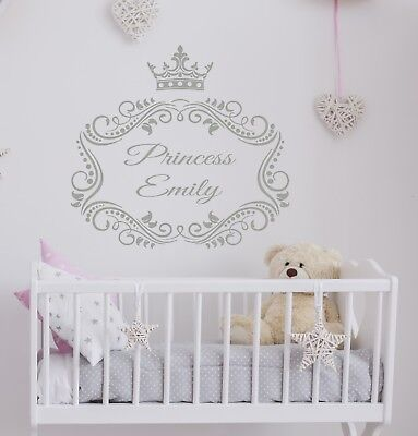 Crown Princess Wall Decal Personalized Name Vinyl Decal Sticker Nursery ZX136