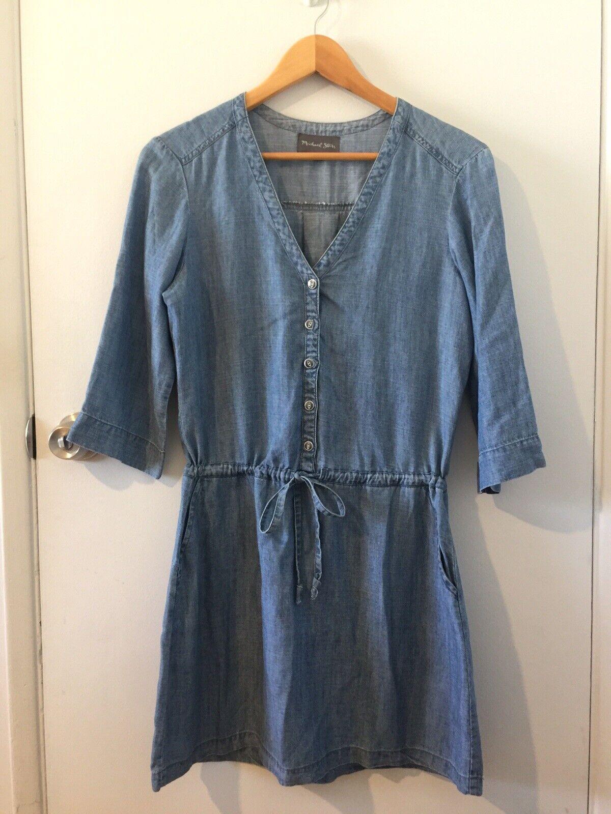 Michael Stars Blue Linen Denim Chambray Shirt Dress Sz Small