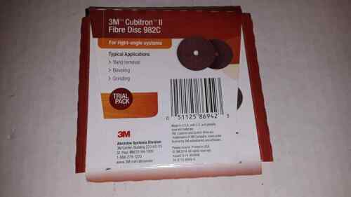 "2 3M Cubitron II Fibre Disc 982C 4 1//2/""x7//8/"" Ceramic Grain right angle New"
