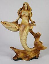 MERMAID & DOLPHIN FAUX WOOD CARVING Figure Statue NEW Ocean Sea Fish Fantasy