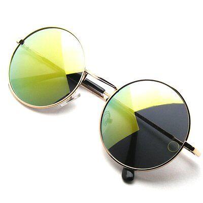 Unisex Womens Mens Mirror Mirrored Lens Round Glasses Steampunk Sunglasses Retro