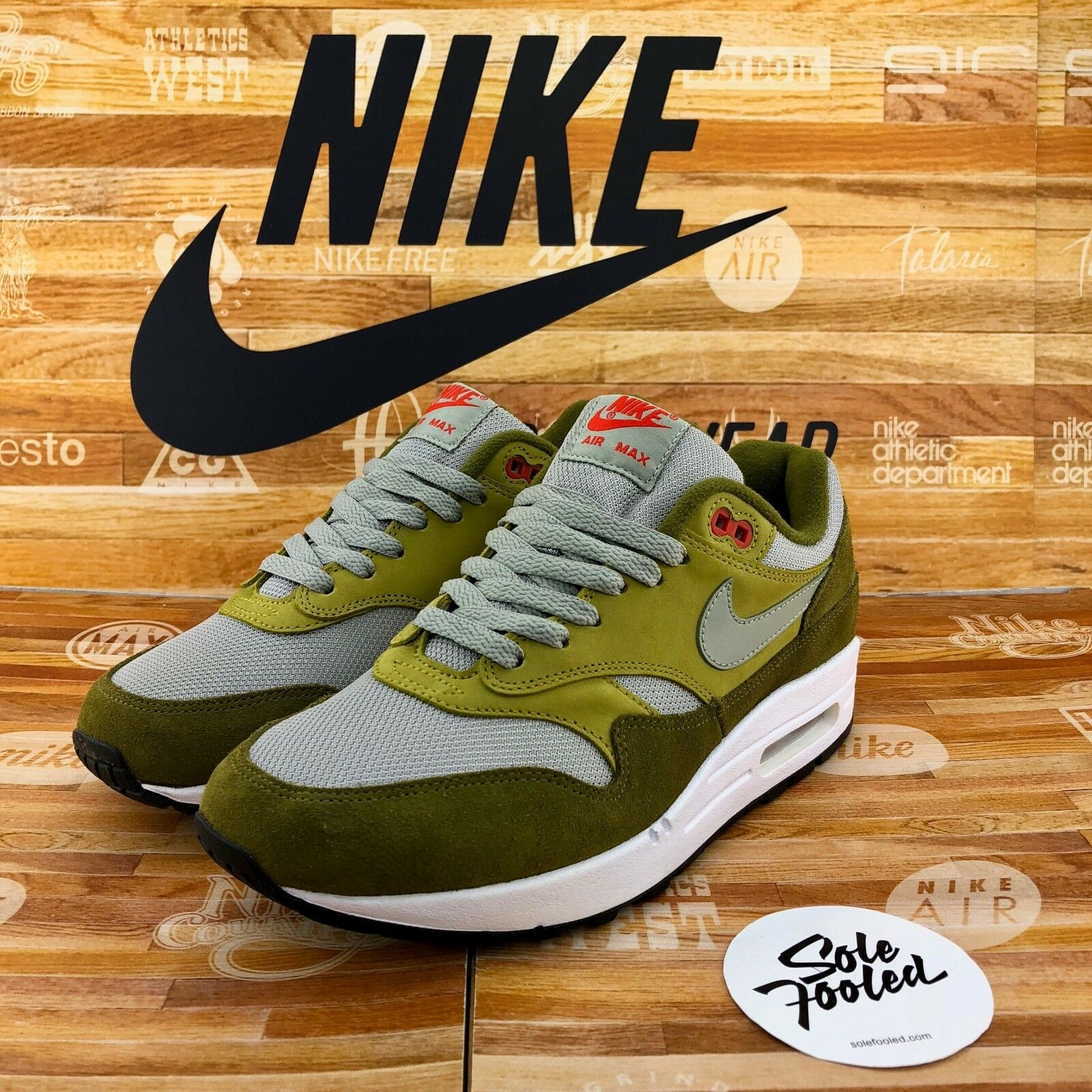 Nike Air Max 1 Premium Retro 908366 300 US 6 EU 38.5 Curry green OG 90 95 97 BW