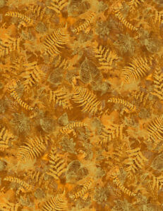 Timeless-Treasures-Harvest-Gold-Leaves-Metallic-100-Cotton-Fabric-By-the-yard
