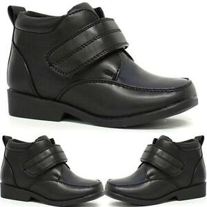 BOYS-SCHOOL-SHOES-INFANTS-NEW-SMART-WEDDING-FORMAL-ANKLE-BOOTS-VELCRO-SHOES-SIZE