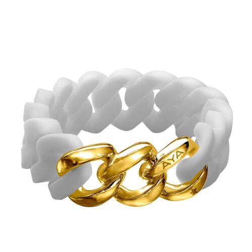 Silix by Aya White Silicon Bracelet with 18K Gold-Plated Stainless Steel