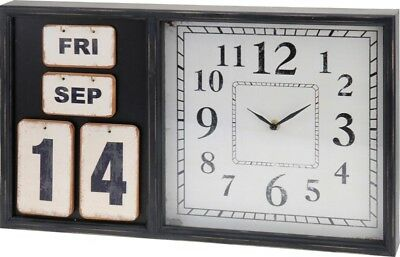 30723 Wanduhr mit Kalender 50 x 30 x 5 cm Shabby Retro Nostalgie Design Uhr