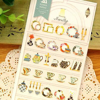 1 x sheet Art teapot teacup saucer stickers scrapbook DIY #151
