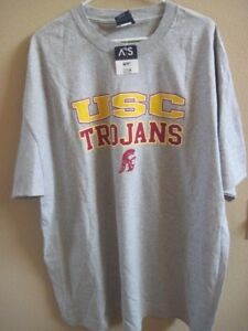 USC-Trojans-Men-039-s-Crew-Neck-T-Shirt-Grey-with-Yellow-Red-Size-2X-NEW-w-Tags