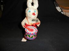 Vintage Wind Up Bunny Playing a Drum Made in Hong Kong Works Great 7""