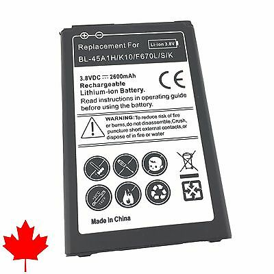 NEW LG K10 Replacement Battery F670L BL-45A1H 2600mAh