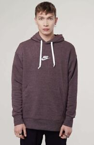 Details about Nike Sportswear Heritage Pullover Hoodie Burgundy Heather Sail 928437 652 Mens