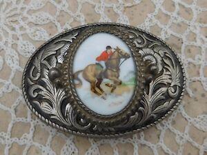 Vintage-Silver-Plated-Porcelain-Belt-Buckle-Equestrian-Horse-Racing-Jockey