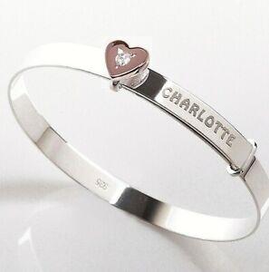 Personalised-Baby-Bangle-Christening-Birthday-Bracelet-Rose-Gold-CZ-Heart-Charm