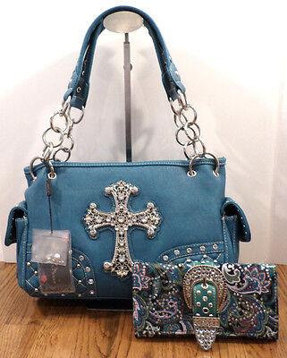 Montana West Handbag Star Western Inspired Cross Purse and Wallet Bling Bag Set