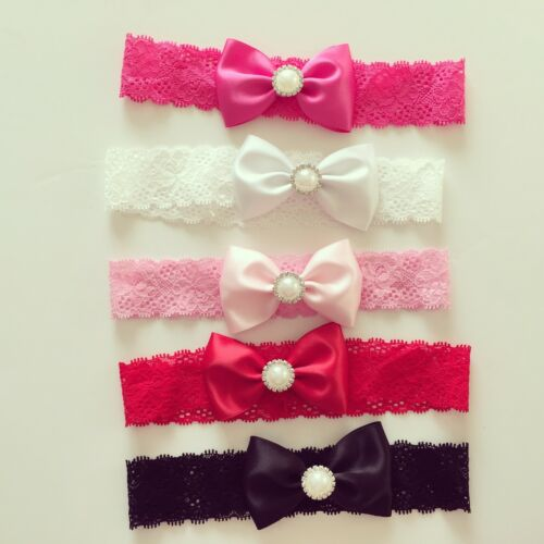 Satin Bow with pearlLace Band Newborn Toddler Baby Headbands christening lot