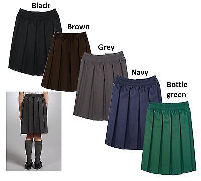 Girls School Uniform Box Pleated Elasticated waist school kids Skirt Age 3-16yrs