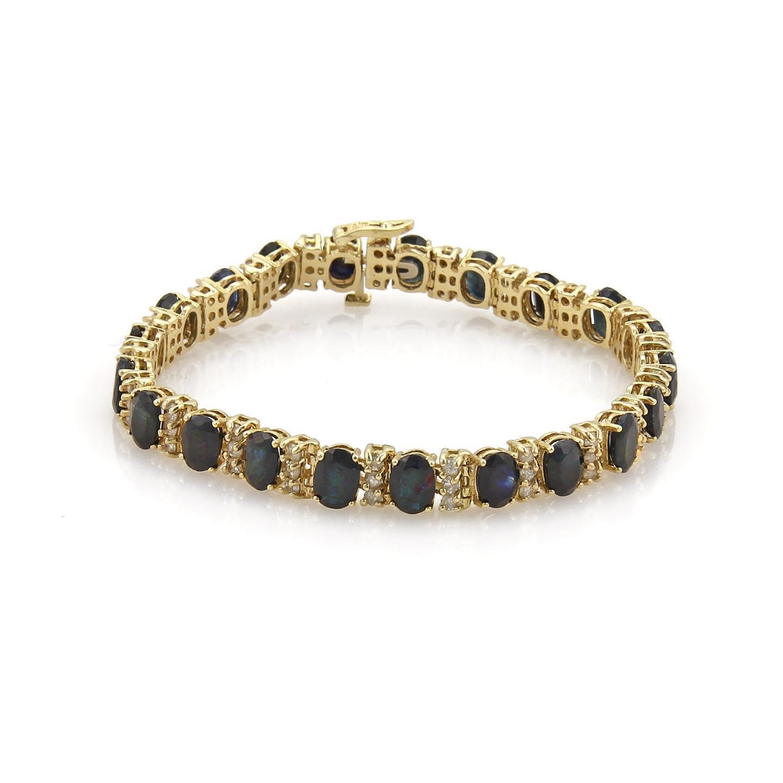 22.20ct Sapphire & Diamond 14k Yellow gold Tennis Bracelet
