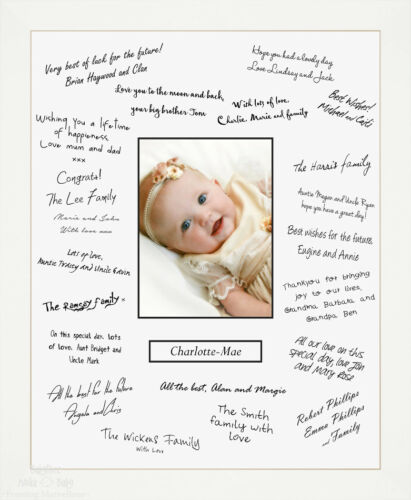 """New 12x16/"""" White Christening Gift Guest Signing Book Frame Signature Messages"""