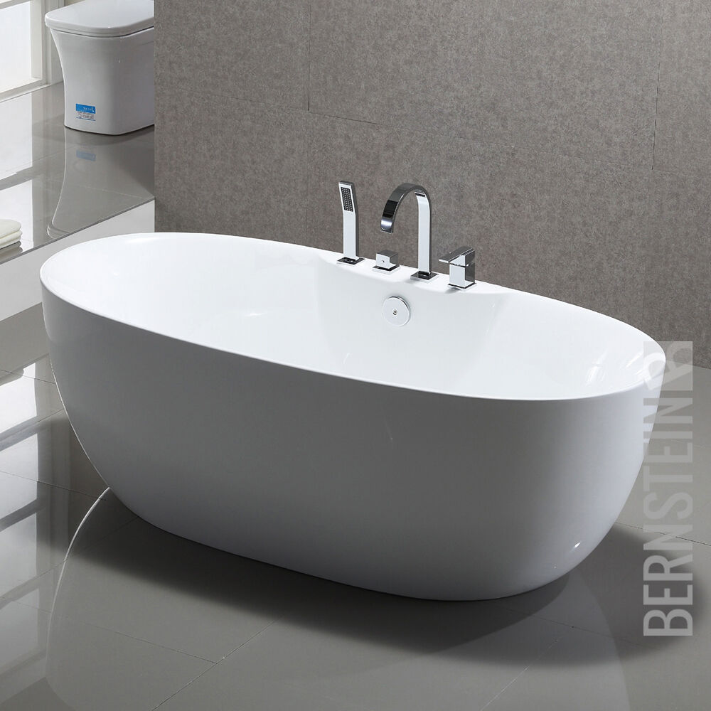 Freistehende Badewanne Standbadewanne Acryl ROMA PLUS weiß 170 x 80 cm Armatur