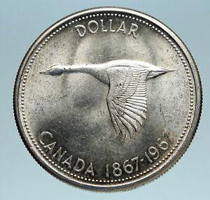 1967-CANADA-Confederation-Founding-OLD-Goose-Genuine-Silver-Dollar-Coin-i83493