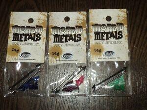 Huge-Morbid-Metals-Imdustrial-Body-Jewelry-Lot-14g-spike-Pink-Green-Blue-X6-New