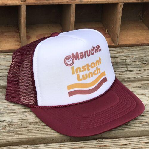 Ramen Lunch Noodles Trucker Hat Vintage 80's Style Snapback Party Cap Maroon