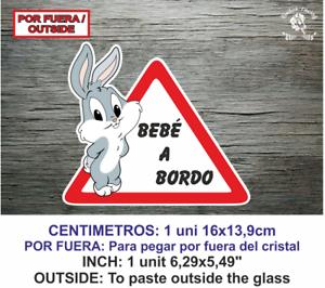 Sticker Vinilo Decal Vinyl Bebe a bordo LBB141 Bug Bunny Rabbit Conejo por fuera