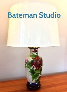 Image Is Loading Vintage Cloisonne Lamp Ivory White Red Lavender Champleve