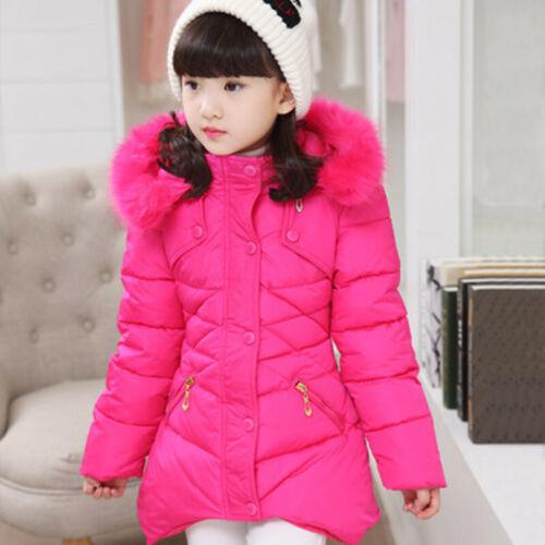 Winter Girls Kids Baby Padded Warm Fur Coat Jacket Hooded Long Parka Coat UK