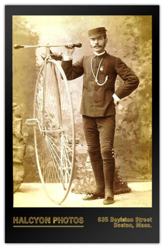 Man With Big Wheel Penny Farthing Bicycle Photograph Cabinet Card Vintage RP