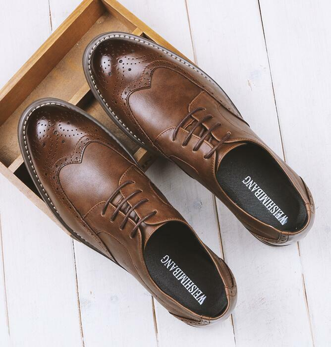 Fashion Mens Brogue British shoes Lace Up Wing Tip Leather new shoes Formal Oxfords