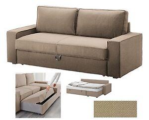 "IKEA Vilasund Sofa Bed Dansbo Beige""QUEEN 3-Seat""Sofabed COVER Tan NEW Vilisund"