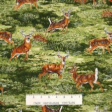 Deer Bucks Wildlife Autumn Landscape Hunting Cotton Fabric Print BTY D692.32