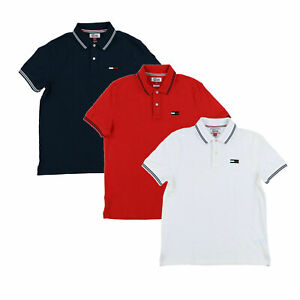 Tommy-Hilfiger-Denim-Mens-Polo-Shirt-Short-Sleeves-Mesh-Custom-Fit-Flag-Logo-New
