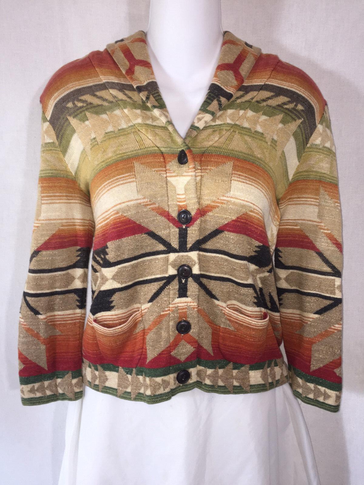 RALPH LAUREN DENIM & & & SUPPLY Aztec Indian Southwestern Knit Cardigan SWEATER PS S 98711b